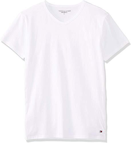 Tommy Hilfiger Camiseta Interior elástica con Cuello en V para Hombre, 3 Unidades Multicolor Black/Grey Heather Bc05/White XXL