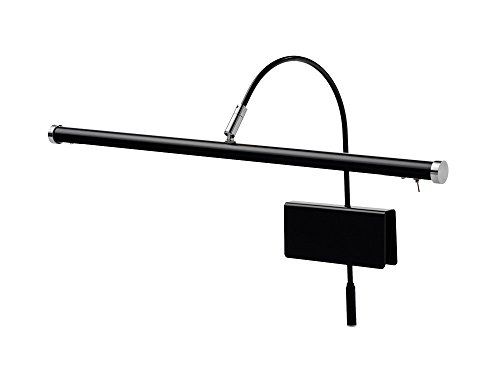 """Cocoweb 19"""" Grand Piano Lamp with Integrated LED Black with Satin Nickel Accents - GPLED19SND"""