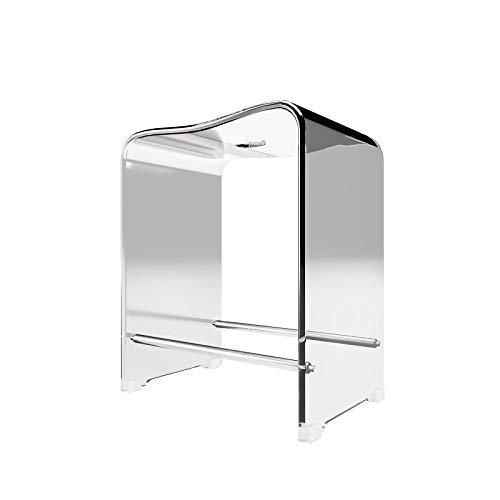 Schulte D1822 99 Tabouret de salle de bains antidérapant, siège de douche ergonomique en acrylique transparent, 47x40x28 cm
