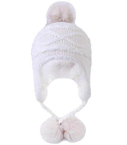 Kuyou Kuyou Damen Winter Mütze Hut Ohrenschützer Trapper Warm Fellmütze, Weiß, Einheitsgröße