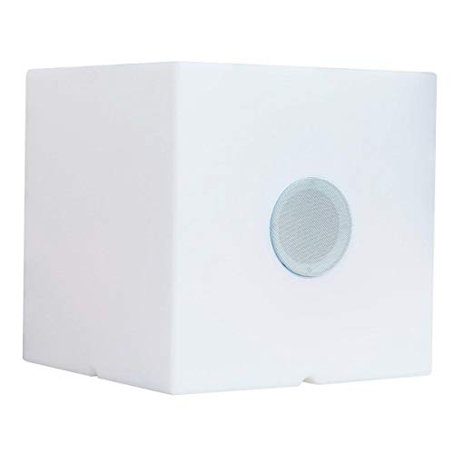 Lumisky CARRY PLAY - Cubo luminoso multicolor inalámbrico con batería con altavoz Bluetooth de polietileno rotomollado, 3,6 W, blanco, 40 x 40 x 40 cm