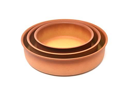 Amercook Juego 3 cazuelas Terracotta (16, 20 y 24 cm) para Horno y Todo Tipo de cocinas, incluida inducción. Acabado de Polvo de Piedra. Sin PFOA