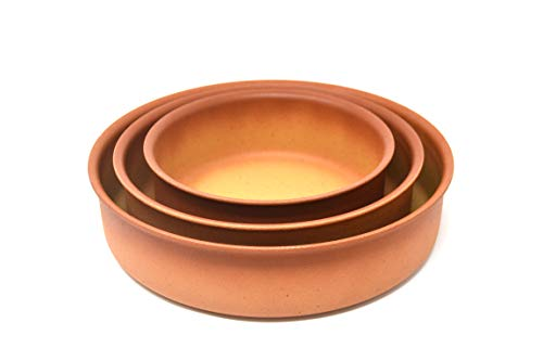 Amercook Juego 3 cazuelas Terracotta (16, 20 y 24 cm) para Horno y Todo Tipo de cocinas, incluida...