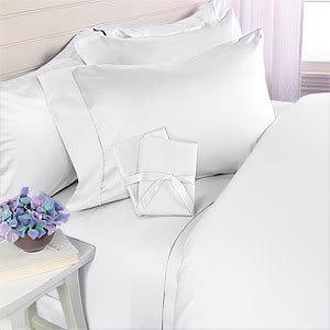 White Plain - Solid Olympic Queen Size Bed Sheet Set - 1200 Thread'Multi-Ply' 100% Egyptian Cotton [Fitted Sheet + Flat Sheet + 2 pillowcases]