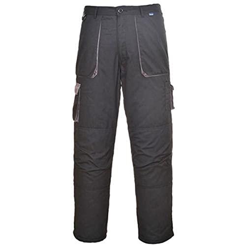 Portwest TX11 Texo Contrast Pantalones de Trabajo | Bolsillos para Rodilleras, 40 Waist - 31 Inch Leg, Negro