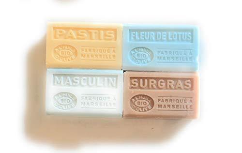 Label Provence Savon de Marseille, geur honing/kaneel met biologische olijfolie, 4 x 125 g, gemaakt in Marseille, 4 stuks