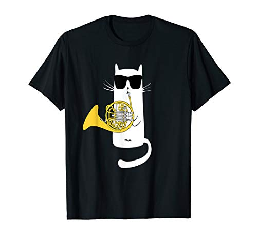 Funny Cat Wearing Sunglasses Playing French Horn T-Shirt
