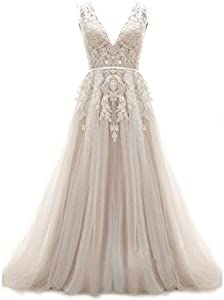 V-Neckline Tulle and Lace Wedding Dresses Key Hole Back Birdal Dress with Sweep Train
