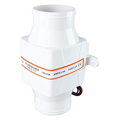 NiceDD 3 pulgadas 12 V en línea ventilador eléctrico en línea marino sentina aire ventilador 130 CFM blanco para barco marino