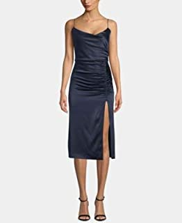 BETSY & ADAM Womens Navy Satin Slit Spaghetti Strap Scoop Neck Below The Knee Party Dress US Size: 4
