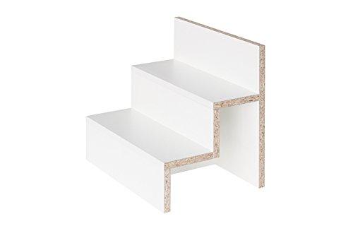 New Swedish Design Stufeneinsatz für IKEA Kallax Expedit Regal Einsatz Präsentation Aufbewahrung 3 Absätze Stufen Treppe für Parfum Spielzeug Figuren 33,5 x 33,5 x 25,5 cm weiß