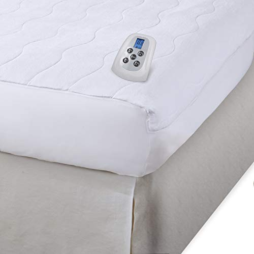 Serta Plush Velour Electric Heated Mattress Pad with Programmable Digital Controller, Queen Size, White