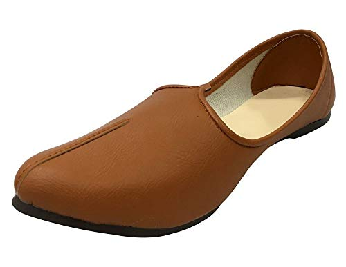 Step n Style Mens Tan Juttis Indian Shoes Khussa Shoes Jalsa Shoes Casual Shoes