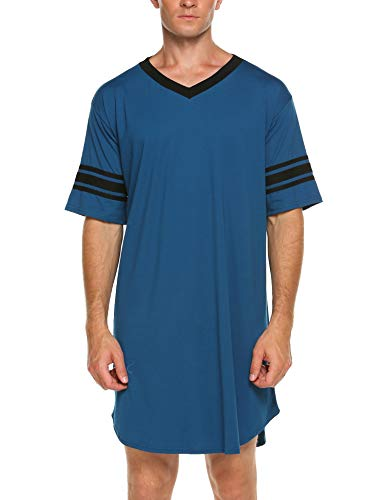 Skylin Cotton Sleep Shirt Men V-Neck Nightshirts Short Sleeve Henley Shirt Lounge Sleepwear M-XXXL