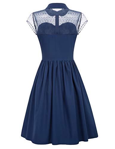 Belle Poque Vestido Festivo hasta la Rodilla Vestido de Noche de 1950 Vestido de Fiesta Elegante Vestido de Solapa con Encanto Azul Marino BP927-2_XL