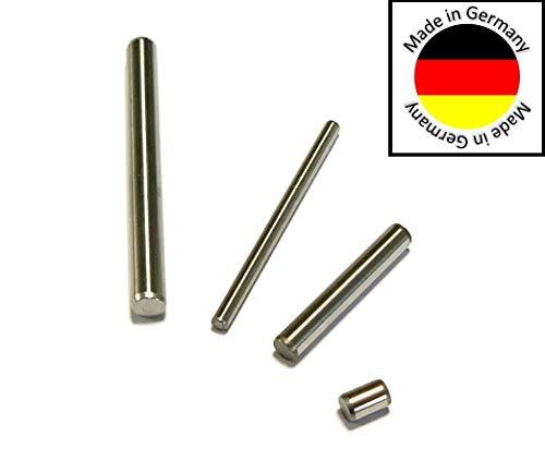 10 Stück Zylinderstift rostfrei Edelstahl (1.4034) geschliffen gehärtet Paßstift Passstift ISO 8734 (Ø 3x12 mm)