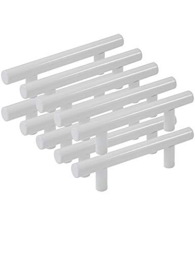 Probrico Maniglia a Barra per mobili Confezione da 10 Acciaio Inox Bianco 9 Dimensioni (50mm 64mm 76mm 96mm 128mm 160mm 192mm 224mm 256mm)