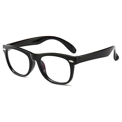 VEVESMUNDO Kinder Brille Anti Blaulicht Computer Blaulichtfilter Anti Müdigkeit TR90 Silikon Klar Brillengestell Kinderbrille Ohne Stärke für Mädchen Jungen Teenager mit Brillenetui (schwarz)