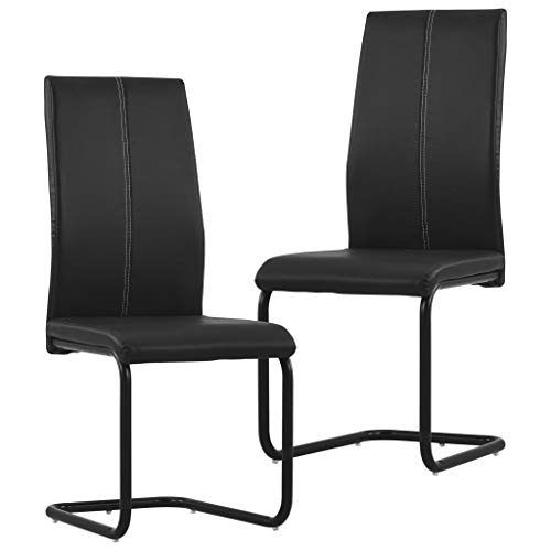 Extaum Sillas de Comedor Voladizas 2 Unidades Cuero Sintético Negro 43 x 54 x 102 cm