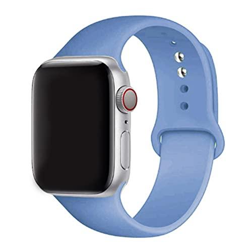 2 piezas de correa de silicona para Apple Watch Band 44 mm / 40 mm para iwatch Band 42 mm / 38 mm Correa deportiva para Apple Watch 6 SE 5 4 3 2 44 mm-14-Azul claro, 38 mm-40 mm L