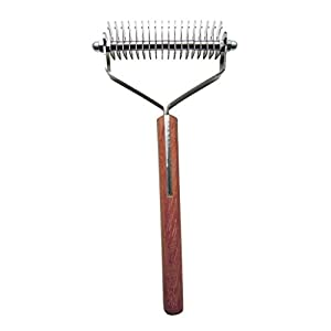 Mars Coat King Double Wide Dematting Undercoat Grooming Rake Stripper Tool for Dogs and Cats, Stainless Steel with Wooden Handle, Made in Germany, 18-Blade