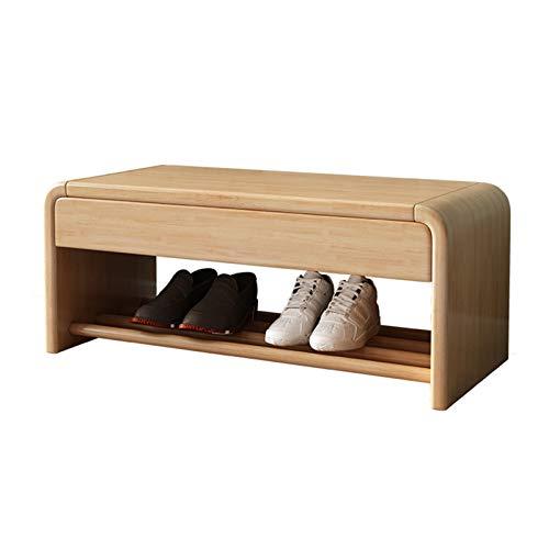 MOMIN Cambio de Taburete de Zapato Estante del Organizador de Entrada de 2 Niveles con cajón de Almacenamiento para Sala de Estar de vestíbulo. Estante de Zapatos (Color : Khaki, Size : 80x30x35cm)