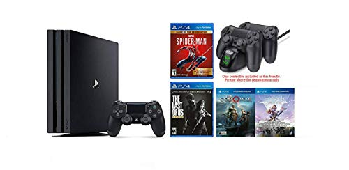 2020 Newest PlayStation 4 Pro Deluxe Bundle- Only On PlayStation Bundle -Included 4 Games(2 download), Marvel spider-man game of the year Edition, HESVAP Fast Charging Station Dock