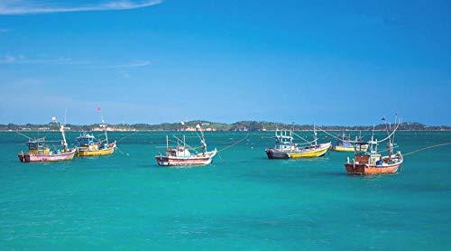 Yqgdss Barco De Pesca En El Mar Azul DIY 500 Piezas Rompecabezas Ideal para Relajación Meditación Hobby Cumpleaños para Papá Madre