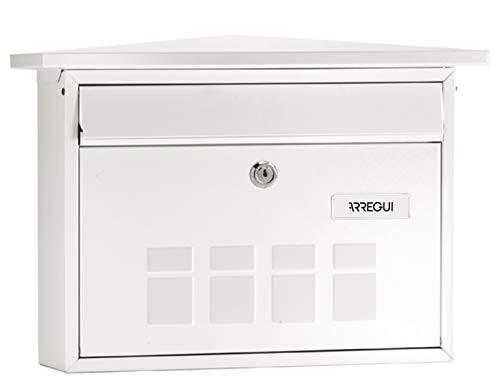 Arregui Deco E5701 Buzón Individual de Acero, Blanco, Tamaño M (DIN A4) -27.5 x 41 x 10cm