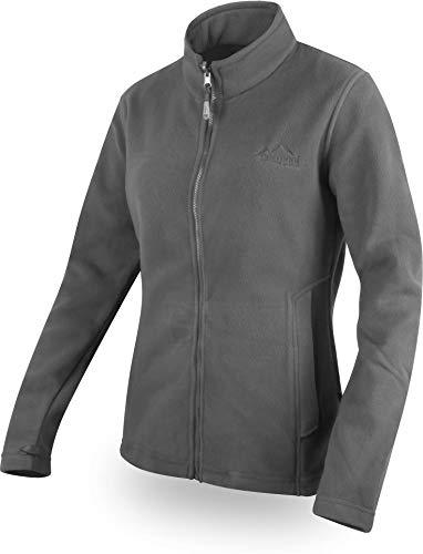 normani Damen Fleecejacke mit Stehkragen und extra winddichtem 280g Fleece Farbe Grau Größe M