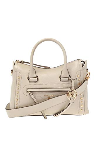 "MICHAEL Kors MK Carine Leather Light Sand Beige Gold Handbag Handbag Designer NW Satchel Pebbled leather 100% leather Gold-tone hardware 10.5""W X 7.5""H X 4.75""D Adjustable strap: 20.5""-24.5"" Exterior details: back zip pocket, front zip pocket Interio..."