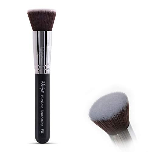 Nanshy Make-up-Pinsel für Grundierung, flach, Kabuki, makelloses Auftragen von Flüssigkeit oder Creme, Onyx Schwarz