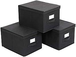 SONGMICS Set van 3 opvouwbare opbergdozen met deksels, stoffen kubussen met labelhouders, opbergbakken organizer