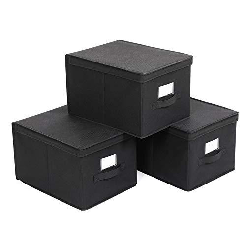 SONGMICS 3 Stück faltbox mit Deckel Faltbare Aufbewahrungsbox Stoffbox 40x30x25cm Schwarz RFB03H