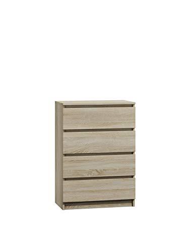 NOXEN Cajonera M4 70, color blanco, muebles de dormitorio, armario, cuatro cajones, mesita de noche de almacenamiento para el hogar, sala de estar, pasillo (roble Sonoma)