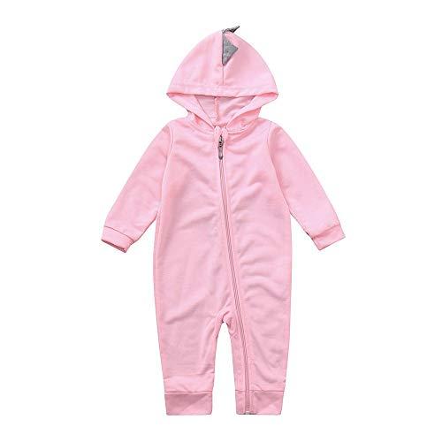 HWTOP Baby Junge Mädchen Jumpsuit Dinosaurier Kapuze Strampler Romper Outfits Bekleidungsset, Rosa-3, 0-3 Monate