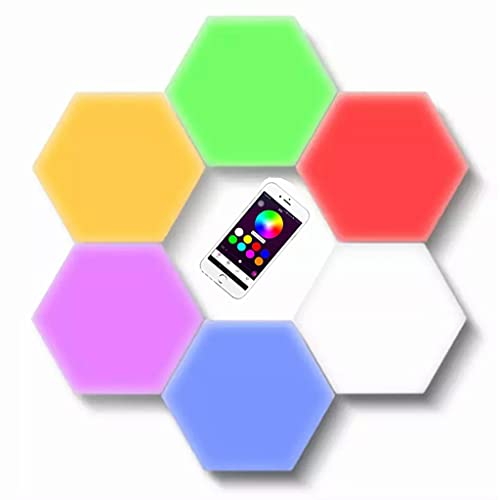 Luz Nocturna LED Paneles Luz Inteligente Lámpara Hexagonal RGB Control Aplicación Cambio Color Sincronización Musical Para Dormitorio Sala Estar Sala Juegos Decoración Fiesta