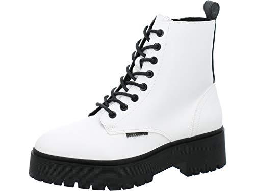 BULLBOXER Damen Stiefel, Frauen Schnürstiefel,Boots,Combat Boots,Schnürung, Boots Combat schnürung Freizeit,Weiß,39 EU / 6 UK