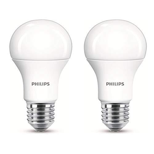 2 lampadine a LED Philips, 11 W (75 W), E27, luce bianca calda, 2 pezzi A+