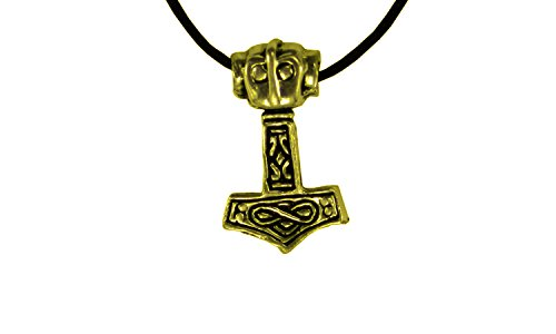 Erlebnis Mittelalter Wikinger/LARP/keltisch/Mittelalter Anhänger, verzinnt und nickelfrei (Anhänger Thorhammer klein Gold)