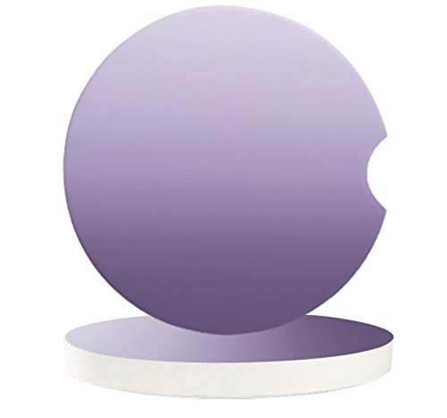 Ombre Lavender Purple, Cup Holders Car Coasters for Women/Men - 2 Pack Absorbent Ceramic Stone Drinks Coaster Set, White Texture