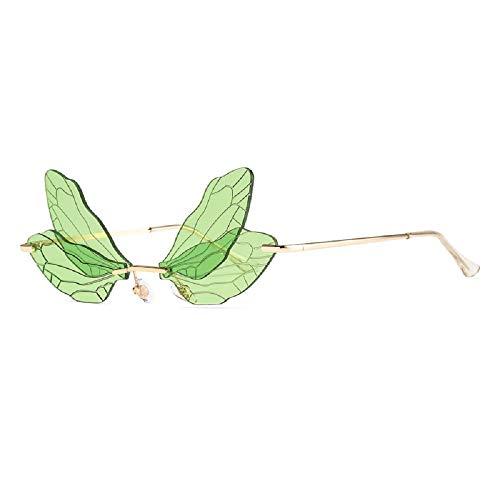 Gafas de sol sin montura de ala de libélula de moda, apagón Uv400, espejos de moda de sol, gafas divertidas, gafas de sol de decoración de vacaciones, color Verde, talla Medium