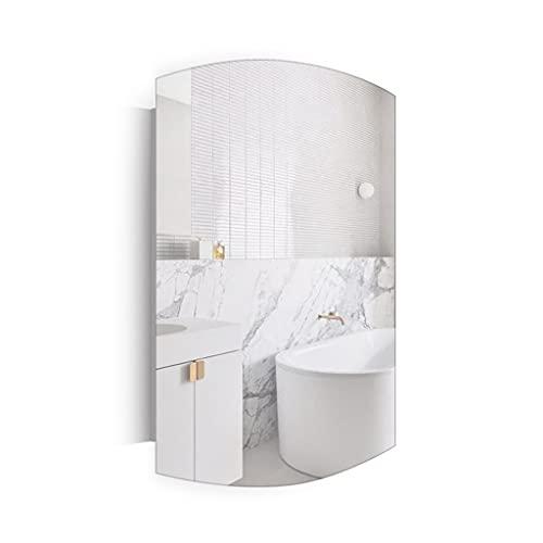 Armoire en Acier Inoxydable, Armoire de Rangement Murale de Salle de Bain, Coiffeuse de Rangement Miroir de Toilette avec étagère, Cabinet de médecine (Color : Silver, Size : 40 * 11 * 60cm)