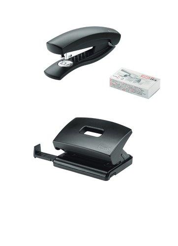 Novus Schreibtisch Set (Heftgerät C 1 mit Locher C 216, inkl. 1000 Heftklammern) schwarz
