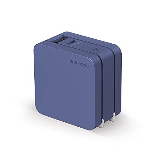 DIGIFORCE PD 急速 充電器 65W Type-C GaN 窒化ガリウム USB-A USB-C 2ポート 折畳式 acアダプター ネイビーブルー