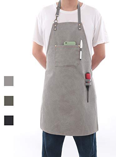 Tobyan Professionelle Kochschürze, Chefkoch, entworfen für Küche, BBQ, Grill, 473 ml, graue Baumwolle, für Damen und Herren