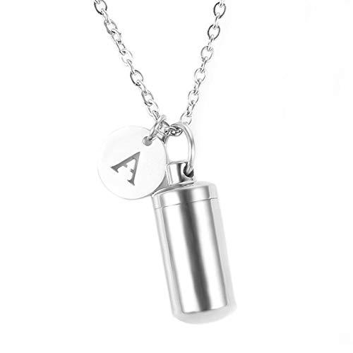 WgYoo Edelstahl Einäscherung Urne Asche Zylinder Fläschchen Anhänger Halskette Brief Initial Charm Memorial Schmuck-1_Y.