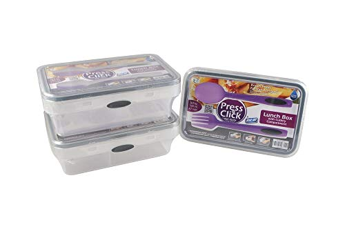 Stor-All Solutions Press N' Click Food Containers Divided Lunch Storage Set with Cutlery, Medium, Blue