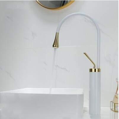 BDWS Nuevo grifo de palanca de agua monomando 360 caño de rotación grifo de latón moderno mezclador de lavabo mezclador fregadero agua blanco negrooro blanco
