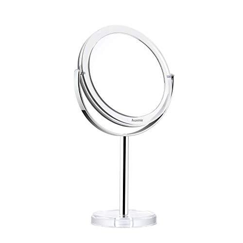 Auxmir Specchio Trucco da Tavolo Bifacciale, Specchio Ingranditore 10X/1X, Specchio da Bagno Rotazione a 360︒ Stile Retrò, Supporto Cromato, Bordo e Piedistallo Trasparente